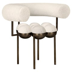 Saturn Chair Bronze Oxidized Steel and Cream Boucle Wool by Lara Bohinc in Stock