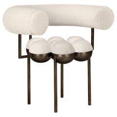 Saturn Chair, Bronze Oxidized Steel Frame and Cream Boucle Wool by Lara Bohinc
