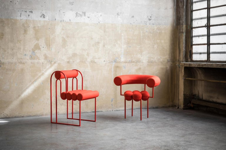 Portuguese Saturn Chair, Red Frame and Red Wool by Lara Bohinc For Sale