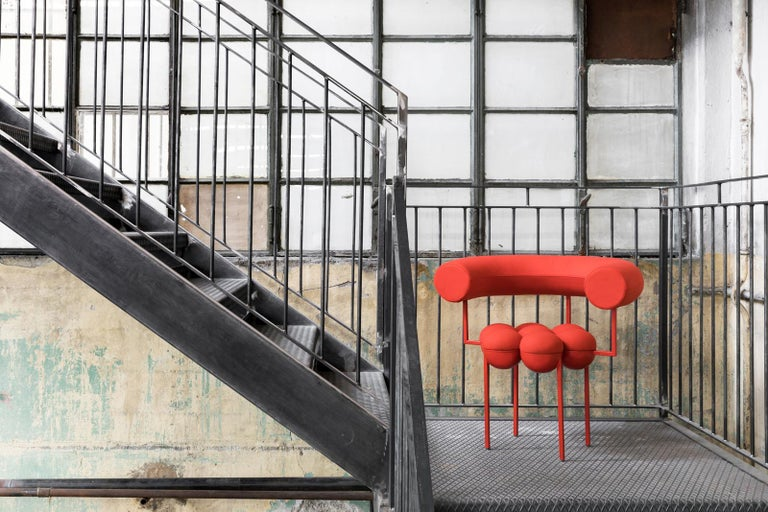 Metalwork Saturn Chair, Red Frame and Red Wool by Lara Bohinc For Sale