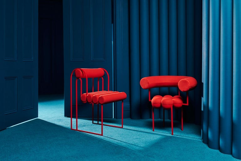 Contemporary Saturn Chair, Red Coated Steel Frame and Red Wool by Lara Bohinc For Sale