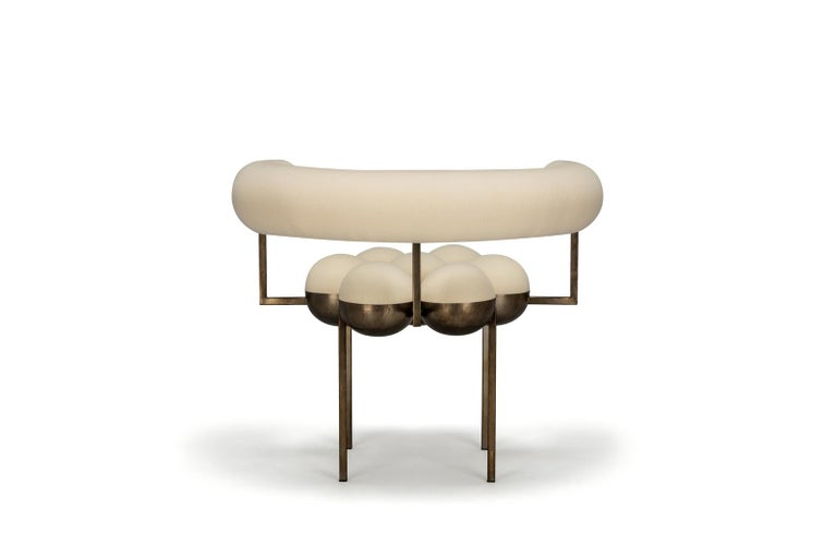 Portuguese Saturn Chair, Steel Frame and Cream Wool by Lara Bohinc, In Stock For Sale
