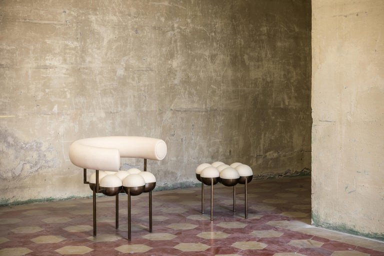 Saturn Chair, Steel Frame and Cream Wool by Lara Bohinc, In Stock For Sale 2