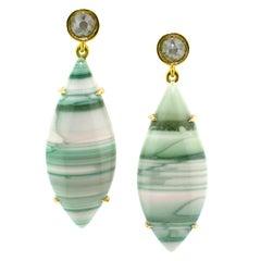 Saturn Chalcedony and Diamond 18 Karat Earrings by Cynthia Scott Jewelry