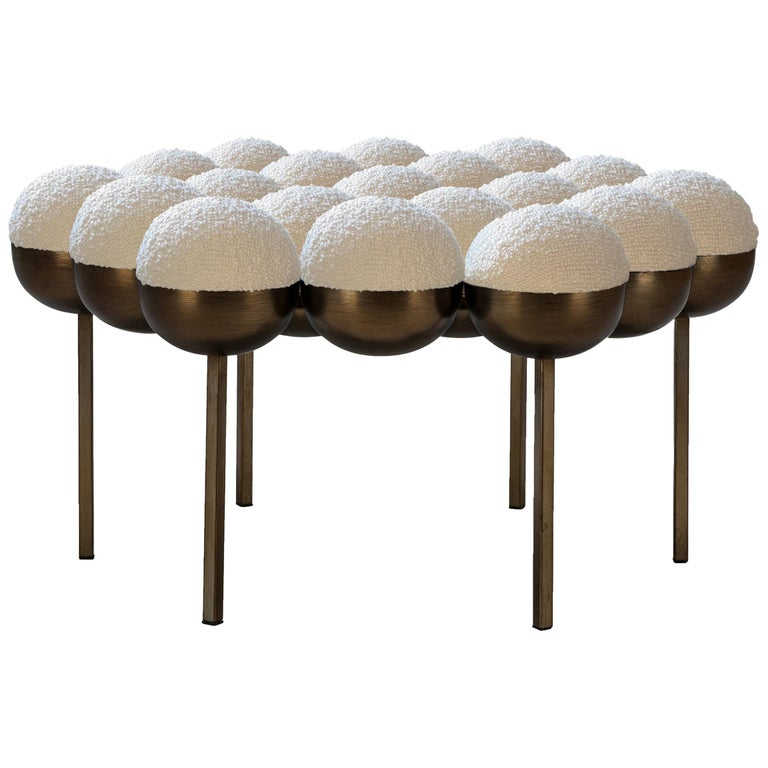 Saturn Pouffe Large, Bronze Oxidised Steel Frame and Ivory Boucle by Lara Bohinc For Sale