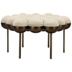 Saturn Pouffe Large, Bronze Oxidised Steel Frame and Cream Wool by Lara Bohinc