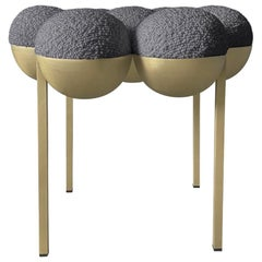 Saturn Pouffe Small, Brass Frame and Grey Boucle Wool by Lara Bohinc, in Stock