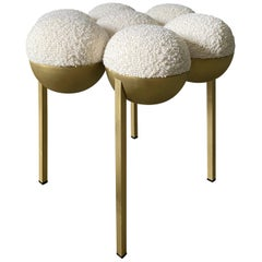 Saturn Pouffe Small, Brass Frame and Ivory Fabric by Lara Bohinc, in Stock