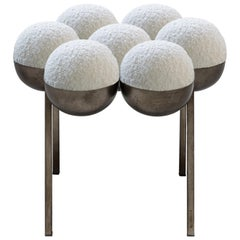 Saturn Pouffe Small, Bronze Oxidized Steel Frame and Ivory Boucle by Lara Bohinc