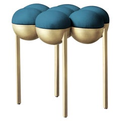 Saturn Pouffe Small, Brushed Brass Frame and Petrol Blue Wool by Lara Bohinc