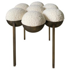 Saturn Pouffe Small, Oxidized Brass and Ivory Boucle by Lara Bohinc, in Stock