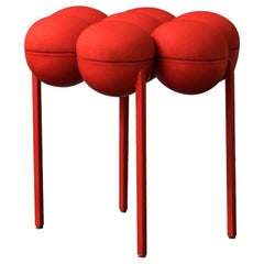 Saturn Pouffe Small, Red Coated Steel Frame and Red Wool by Lara Bohinc