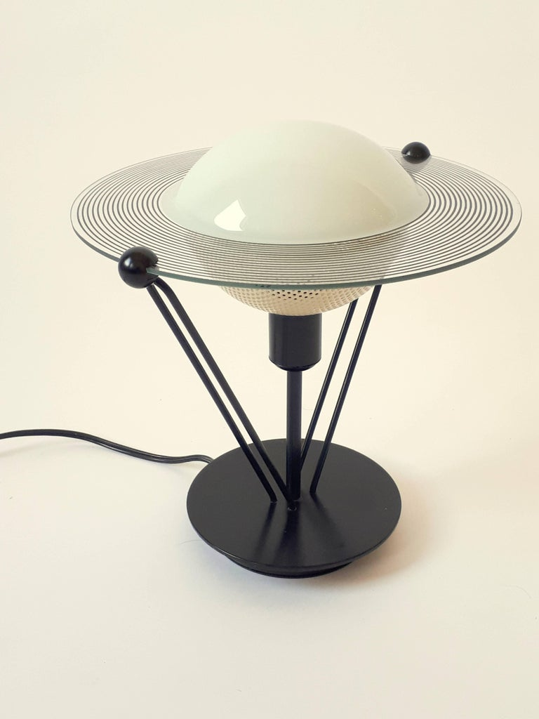 Metal Saturn Shaped Glass Table Lamp, 1980s, Italia For Sale