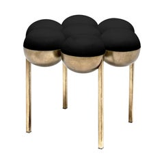 Saturn Small Pouffe, Black and Brass by Bohinc Studio Duplex Exclusive