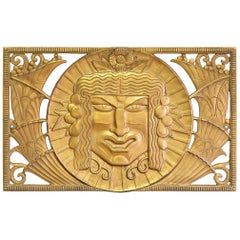Satyr and Bacchus, Extraordinary, High Style Art Deco Bronze Sculptural Grills
