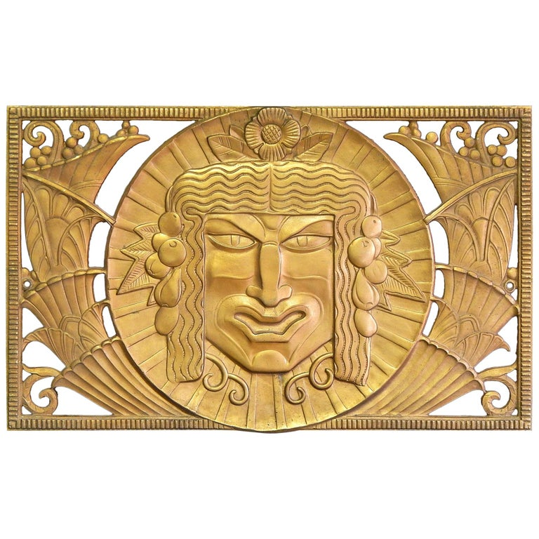 Satyr and Bacchus, Extraordinary, High Style Art Deco Bronze Sculptural Grills For Sale
