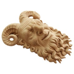 Satyr Antique Mask 'Wood Rosette' Hand Carving Craft Wall Art from Oak or Beech