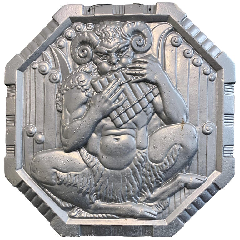 """""""Satyr Playing Pipes,"""" Rare Art Deco Sculptural Panel by Chambellan for Alcoa For Sale"""