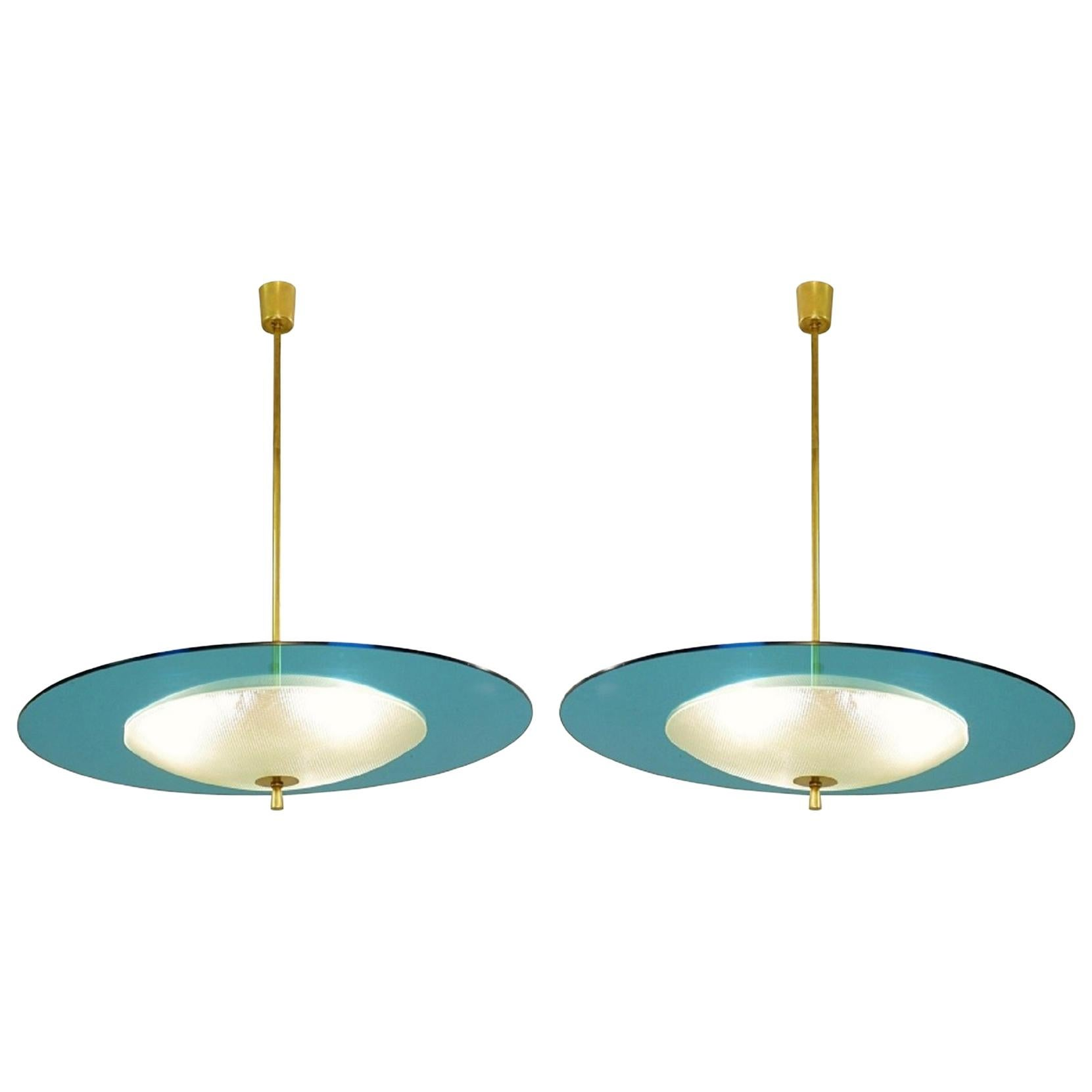 Saucer Shaped Chandelier in the Style Fontana Arte, Italy, 1960s