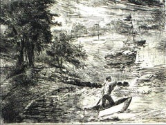 Expressive Lake Scene Etching on Paper 1940-60s