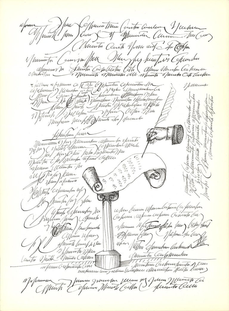 """Saul Steinberg-Automatic Writing-15"""" x 11""""-Lithograph-1966-Modernism-White - Print by Saul Steinberg"""