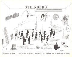 "Saul Steinberg-Flair Gallery-23"" x 29""-Lithograph-1968-Modernism-Black & White"