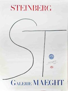 """Saul Steinberg-Galerie Maeght-63"""" x 47""""-Poster-1973-Modernism-Black & White"""