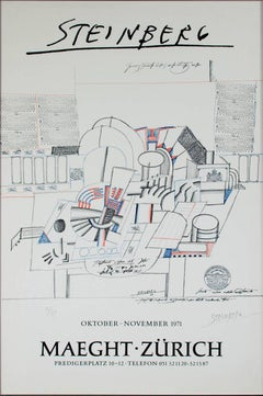"""Trompe L'Oeil,"" Original Color Lithograph Abstract signed by Saul Steinberg"