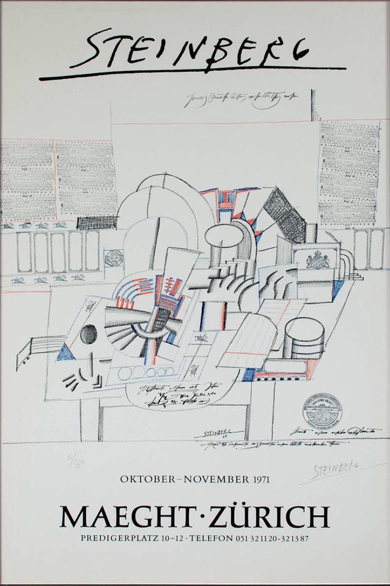 """Trompe L'Oeil is an original color lithograph by Saul Steinberg. The artist signed the piece in the lower right and wrote the edition number (6/50) in the lower left. This piece showcases an abstract illustration in black, gray, blue, and red, and"