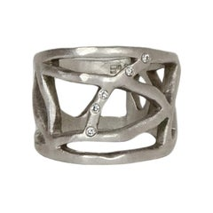 Saundra Messinger Sterling Silver Web Ring with Diamonds sz 6.5