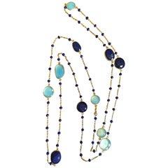 Sautoir Lapis Lazuli on Silver 925 Necklace