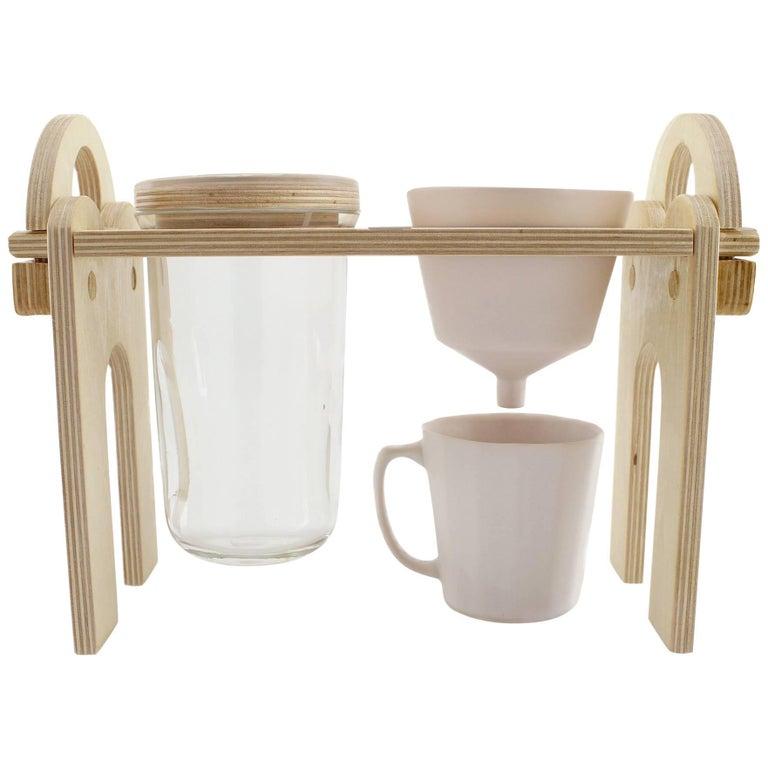 Savant Pour over Set, Matte Pink Coffee Set, Modern Contemporary Porcelain For Sale