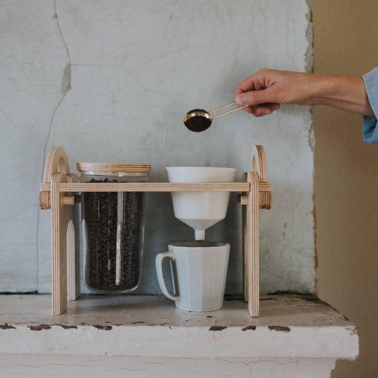 American Savant Pour over Set, Matte Black Coffee Set, Modern Contemporary Porcelain For Sale
