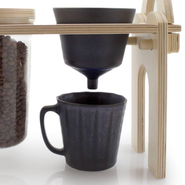 Savant Pour over Set, Matte Black Coffee Set, Modern Contemporary Porcelain For Sale 5