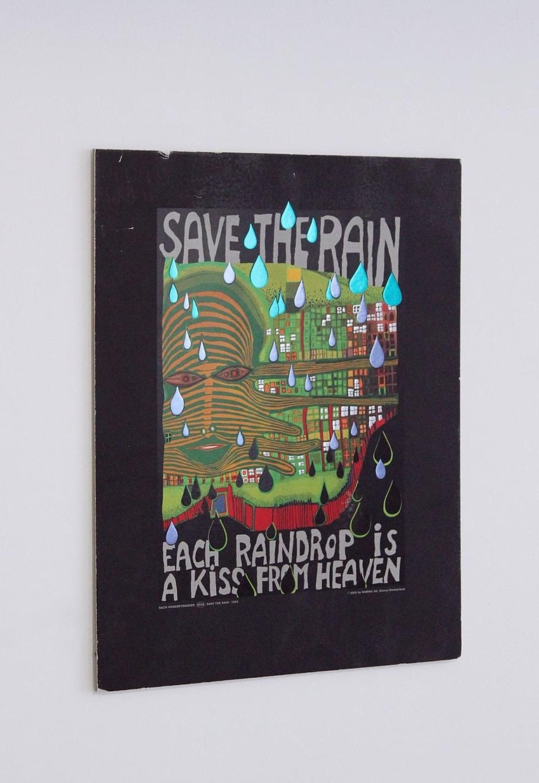 Friedensreich Hundertwasser Save the Rain Offset in colours and metal embossing.  Copyright by Gruener Janura AG, Glarus/ Switzerland.  Norges Naturverbund,  The Norwegian Society for Conservation of Nature    Original Poster designed by