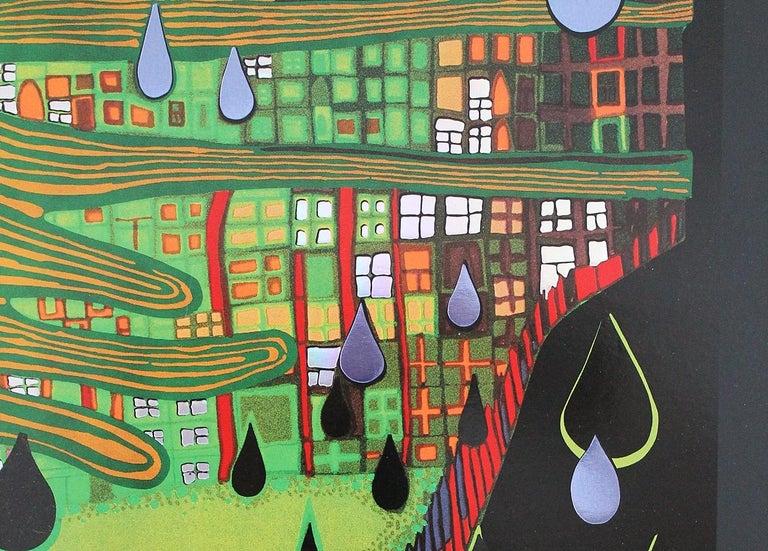 Austrian Save the Rain by Friedensreich Hundertwasser 1983 Swiss Edition Art Print For Sale