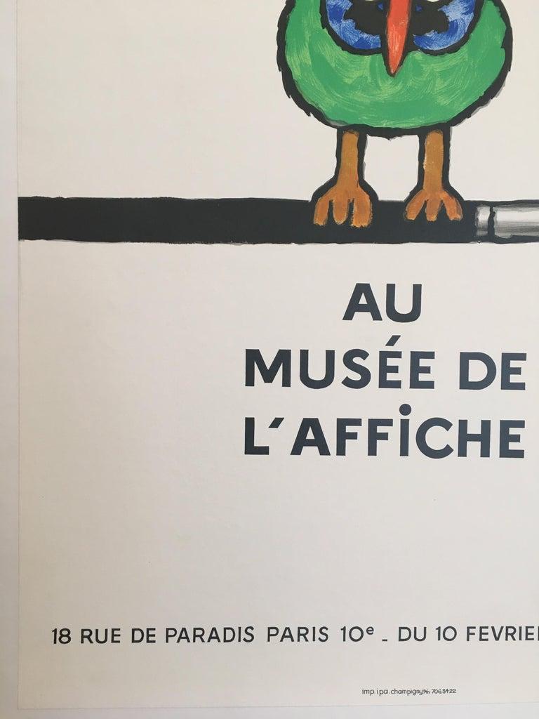 International Style Savignac Bird 'Au Musee De L'Affich' Original Vintage French Exhibition Poster For Sale