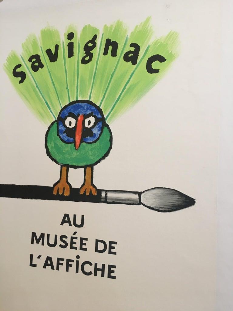 Late 20th Century Savignac Bird 'Au Musee De L'Affich' Original Vintage French Exhibition Poster For Sale