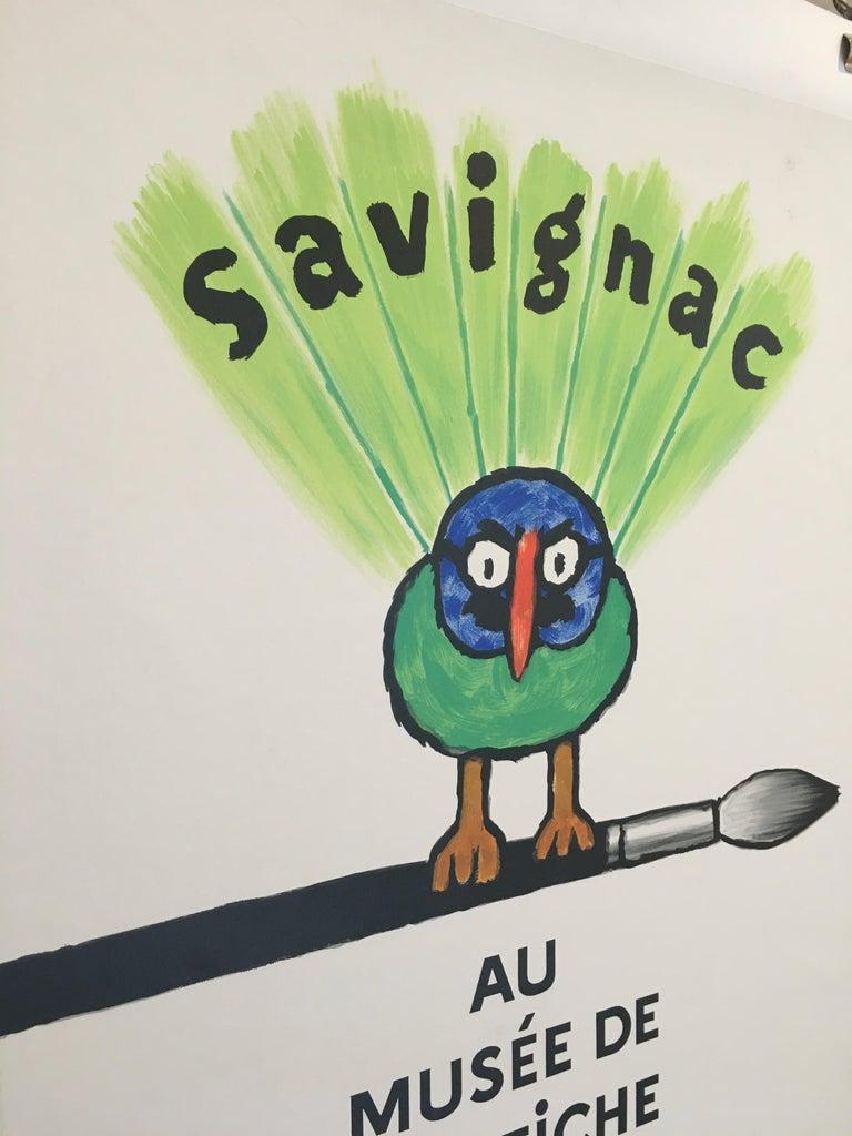 Savignac Bird 'Au Musee De L'Affich' Original Vintage French Exhibition Poster For Sale 1