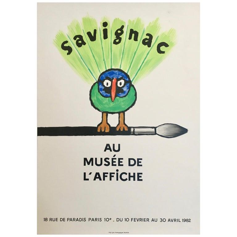 Savignac Bird 'Au Musee De L'Affich' Original Vintage French Exhibition Poster For Sale