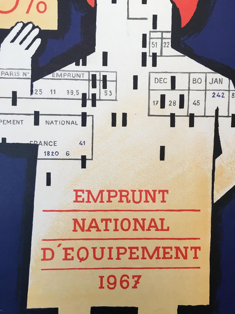 Mid-20th Century Savignac, 'Emprunt National D'Equipement', Original Vintage French Poster, 1967 For Sale