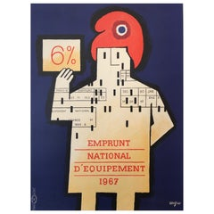 Savignac, 'Emprunt National D'Equipement', Original Vintage French Poster, 1967