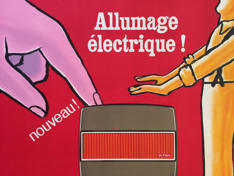 International Style Savignac, Original Vintage French Advertisement Poster, 'Airflam' Heating, 1967 For Sale