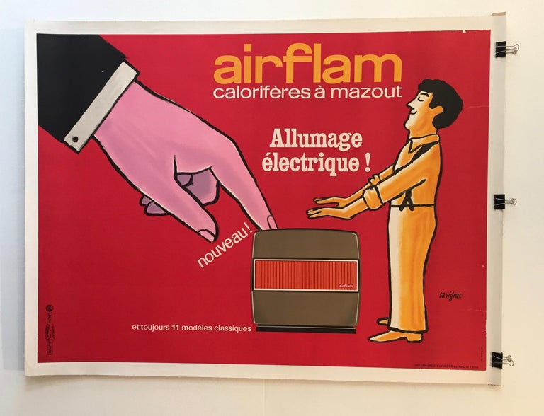 Savignac, Original Vintage French Advertisement Poster, 'Airflam' Heating, 1967 In Good Condition For Sale In Melbourne, Victoria