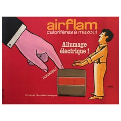 Savignac, Original Vintage French Advertisement Poster, 'Airflam' Heating, 1967