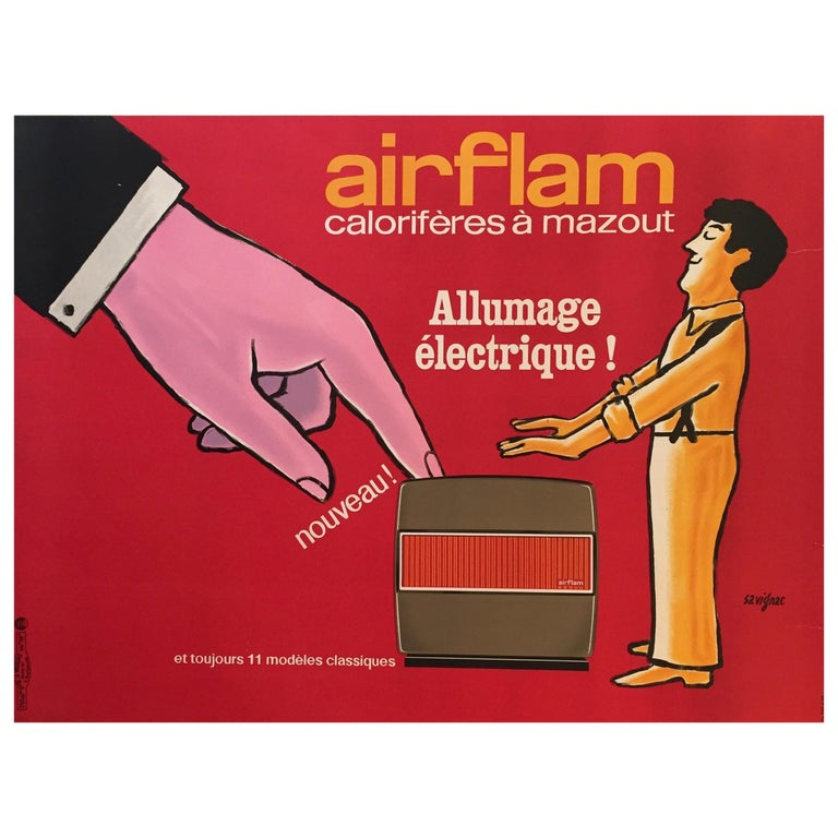 Savignac, Original Vintage French Advertisement Poster, 'Airflam' Heating, 1967 For Sale