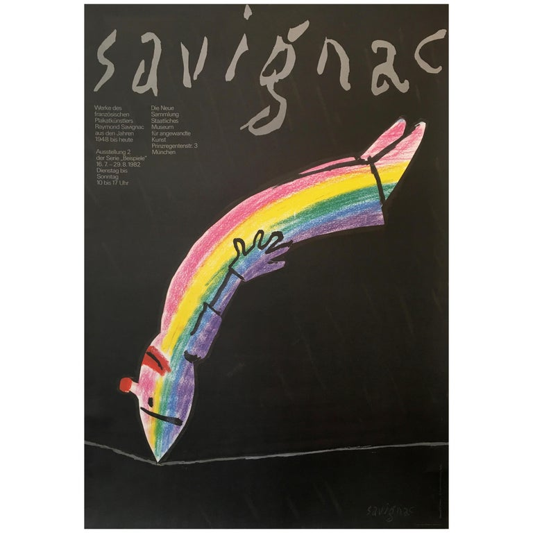 Savignac Rainbow Exhibition Poster Munich Original Vintage Poster, 1982 For Sale