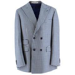 Savile Clifford Bespoke Checkered Blazer Jacket estimated SIZE L