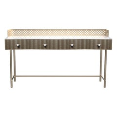 Savita Artisanal Luxury Wooden Console, Metal Structure, Made in Italy