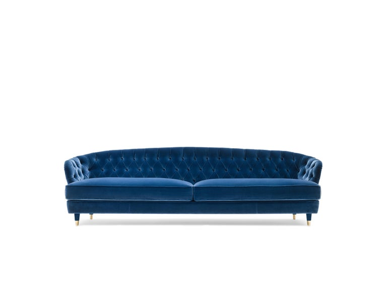Savoi tufted sofa blue velvet For Sale